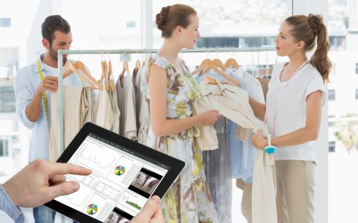 Consumers in a retail space, browsing collections also available online